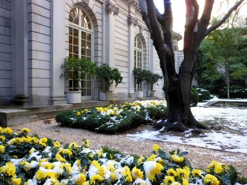 The Frick Museum Courtyard With NYC's First Snowfall in 2011